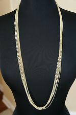 NEW Celebrity Designer Lisa Freede Long Layered Crystals & Gold Chains Necklace