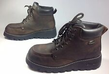 Women's Sketchers Brown Leather Moccasin Toe Lace Up Fashion Boots Sz 8.5