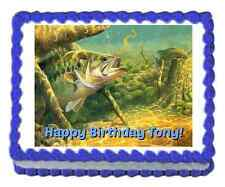 Bass Fishing edible image cake topper frosting sheet personalized
