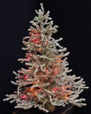 PRE-LIT SILVER CHRISTMAS TREE TABLE TOP FAUX PINE TREE WITH MULTI COLORED LIGHTS