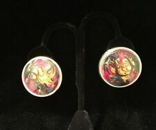 Stunning Vintage Pierced Round Swirl Earrings Multi Color And  Gold Tone