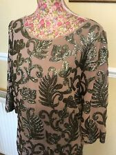 Very Rare Monsoon Ally Mink Nude Embellished Long Sleeve Dress Size 14 Excellent
