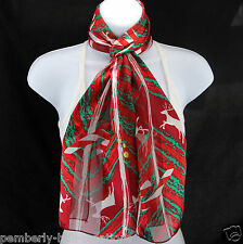 Candy Cane Reindeer Womens Scarf Christmas Holiday Red Green Gift Scarfs Scarves
