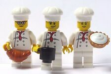 Lego 3  Chef Cook Baker Minifigure Figure With Food  Pie Croissant Cooking Pot