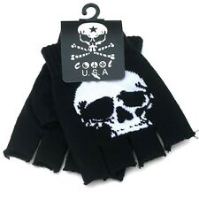 NEW BLACK WHITE SKELETON SKULL FINGERLESS CUTOFF GLOVES PUNK GOTH EMO  #BT-1005