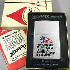 1973 Vintage Brushed Chrome Zippo - Proud American - USA Flag NIB!
