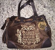 AUTHENTIC JUICY COUTURE Brown Velvet Tan Bow ROYAL JUICY Logo Gold Charm Tote