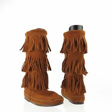 Women's Minnetonka 3 layer fringe 1632 Shoes Brown Suede Boots Size 7 M