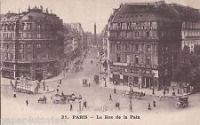OLD POSTCARD BUILDINGS SHOPS LA RUE DE LA PAIX PARIS FRANCE ADVERTISING JY504