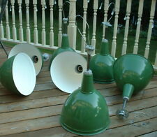 "1 VTG 16"" GOODRICH Porcelain Pendant Industrial Green Enamel Barn Lamp Light"