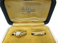 Antique Engagement Wedding Rings Set 14K Gold Diamonds 1920's In Box
