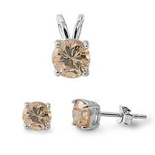 Round Champagne Cz .925 Sterling Silver Pendant & Earrings Set