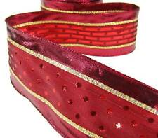 "5 Yds Christmas Deep Red Metallic Dot Gold Line Wired Ribbon 2 1/2""W"