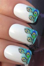 WATER NAIL TRANSFERS PEACOCK EYE FEATHERS FRENCH TIP TATTOO DECALS STICKERS *382