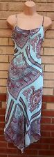 ETAM LIGHT BLUE PINK STRAPPY PAISLEY BAROQUE PRINT BOHEMIAN CHIFFON DRESS 14 L