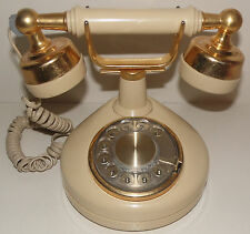Vintage French Style Cream Gold Western Electric Rotary Telephone Tested & Works
