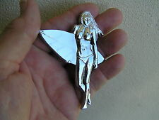 ~ SURFER GIRL CAR BADGE Chrome Metal Emblem NEW Surf Board Rider Beach Holden