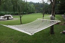 """59"""" White Cotton Hammock Double Wide with Solid Wood Spreaders 2 Person 450lbs"""