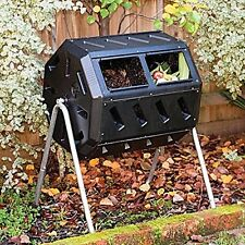 Compost Tumber Bin Organic Outdoor Two Chambers Kitchen Yard Wast Composter