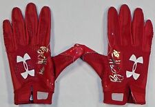 Ryan Griffin Houston Texans Autographed Game Used Under Armour Gloves Red 1
