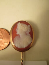 Late 19th Century Hand Engraved  Agate Cameo Stick Pin Greco - Roman Lady