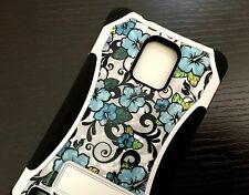 For Samsung Galaxy S5 - HARD & SOFT RUBBER HYBRID CRYSTAL CASE MINT BLUE FLOWERS