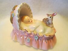 JOSEF ORIGINALS BABY IN PINK BASSINET OR CRADLE WITH DEER HTF
