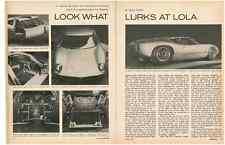 1963 LOLA GT - FORD FAIRLANE ENGINE SUPPLANTED BY COBRA ~ ORIGINAL 4-PG ARTICLE