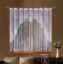 Amazing White Jardiniere Net Curtain with Strings 300cm x 180cm
