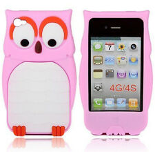 Light Pink Silicone Super Cute OWL Phone Case / Cover for Apple Iphone 4 / 4S