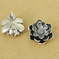 1 PCS 925 Stamp Sterling Silver Lotus Pendant/Charm Vintage Protection WSP430X1