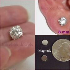 MAGNETIC 8mm Clear Glass Rhinestone Stud Fake Non-Pierced Earrings 1 Pair #M151
