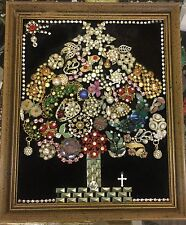 Framed Vintage Jewelry Christmas Tree Bell  Wreath  Collage Art