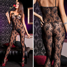 Rose Floral Lace Tank Bodystocking w/ Strappy Breast Cups & Black Satin Bows OS