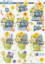 3D Motivbogen Etappenbogen Grußkarte Bastelbogen Frühling Blumen im Korb (304)