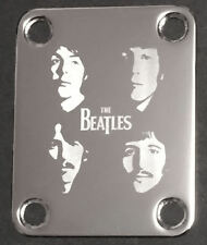 GUITAR NECK PLATE Custom Engraved Etched - THE BEATLES Faces - Chrome