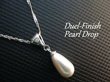 Ice 925 Sterling Silver Duel-Finish Pearl Drop Pendant 1 Canadian Diamond IP007