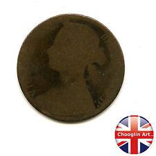 Un bronzo Britannica 1874 H Victoria PENNY COIN (Heaton) (ref:1874_45/6)