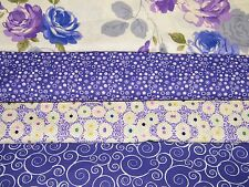 4 FQ Bundle –  PURPLE Prints 100% Cotton Quilt Craft Fabric Fat Quarters