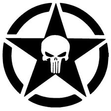 CAR Jeep Star ( Design 02 ) Punisher Vinyl Car Decal Sticker 14cm x 14cm