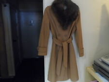 WOMANSLADIES SMART FORMAL WOOL RICH WARM WINTER COAT FAUX FUR OPTION WEAR COLLAR
