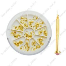 3mm Nail Art Gold Bead Ring Dangle Charm Decoration w/ Drill Box Case Set