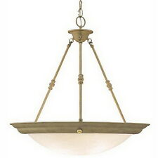 Silver Rust And Alabaster Glass Hanging Chandelier/Pendant