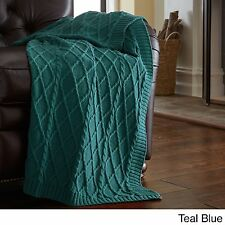 """Teal Oversized Cotton Knit Throw Blanket for Sofa Chair 50"""" x 70"""" Decorative"""