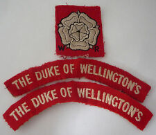 DUKE OF WELLINGTON'S REGIMENT CLOTH SHOULDER TITLES x 2 AND ARM BADGE
