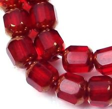 25 Czech Antique Style Octagonal Cathedral Beads 6mm - Bronze: Siam Ruby