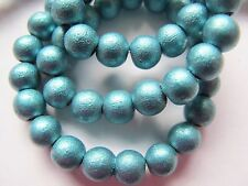 25 6mm wood wooden round beads metallic aqua blue