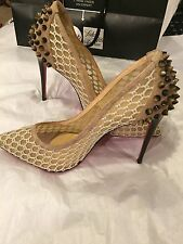 Christian Louboutin Guni Beige Suede Trim Spike Fishnet Mesh 100MM Pumps Size 35