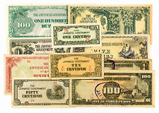 10 diff. WW2 Burma, Philippines, Malaya 1940's Japanese invasion paper money