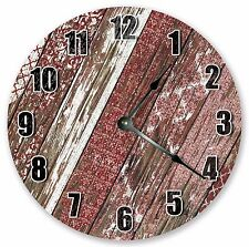 """10.5"""" RED WORN WOOD CLOCK - Large 10.5"""" Wall Clock - Home Décor Clock - 3108"""